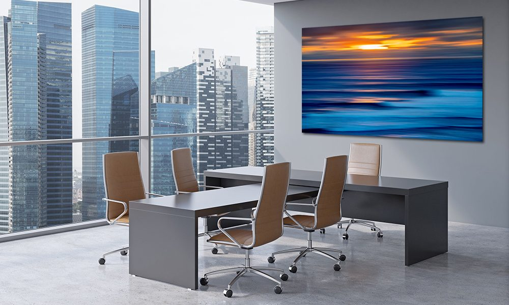 42362656 - modern office interior with huge windows and skyscraper panoramic view. brown leather on the chairs and a black table. a concept of ceo workplace. 3d rendering.